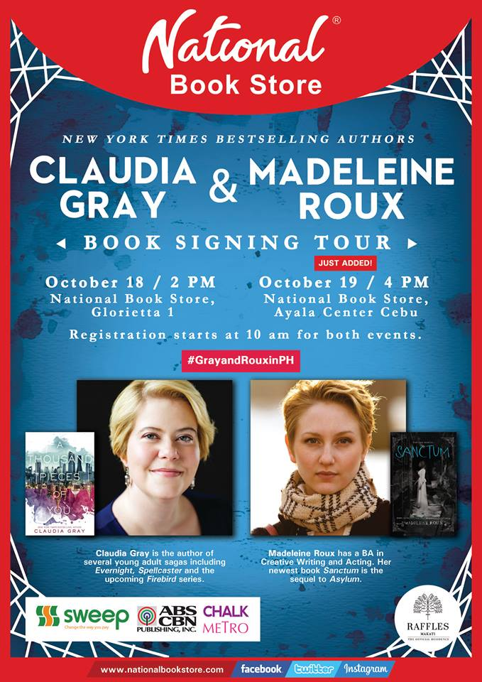 claudia gray madeleine roux manila philippines national book store signing