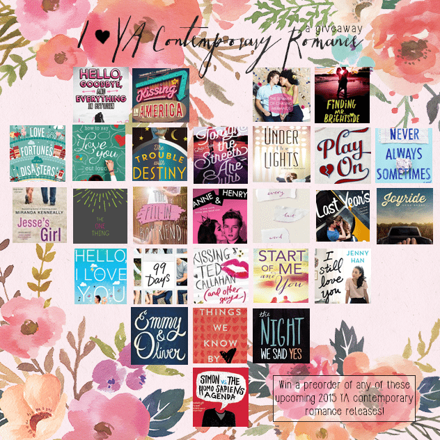 2015 ya contemporary romance releases giveaway
