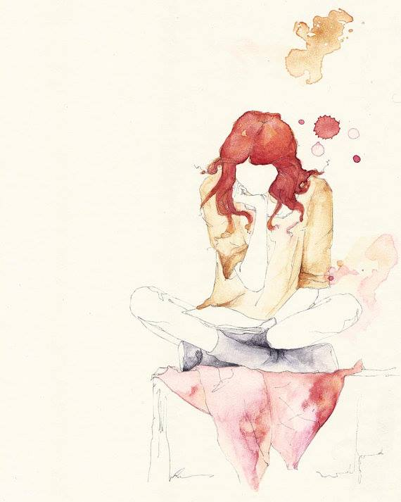 girl reading book watercolor