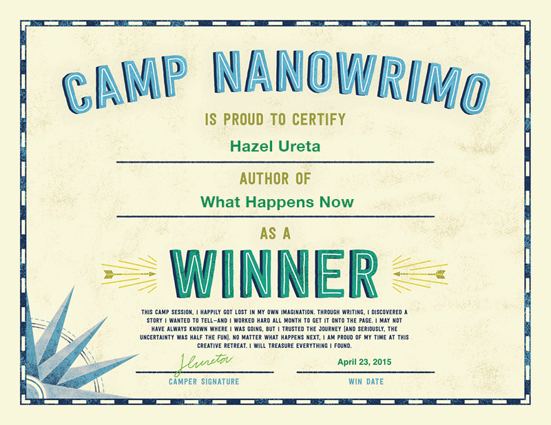 Camp Nanowrimo 2015 Winner Certificate Intended Certificate Winner