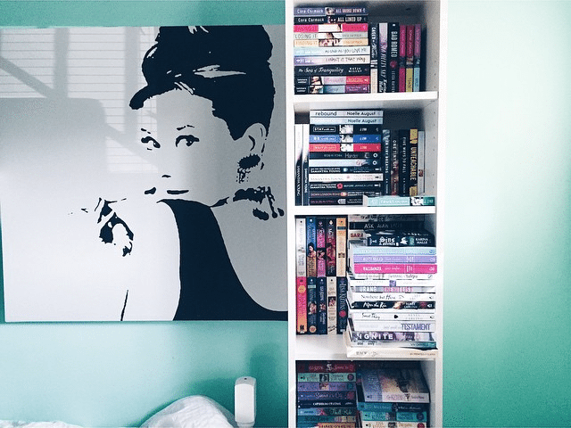 novel portraits - audrey hepburn book shelf