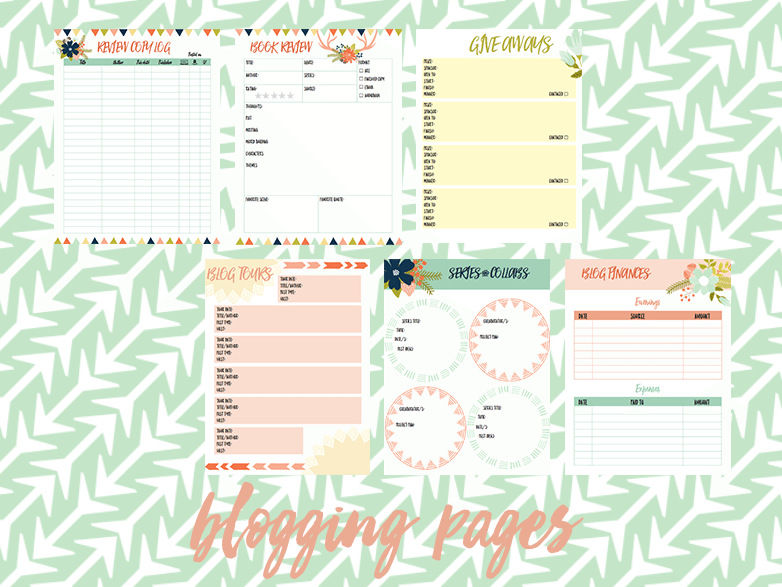 2016 book blog planner blogging pages