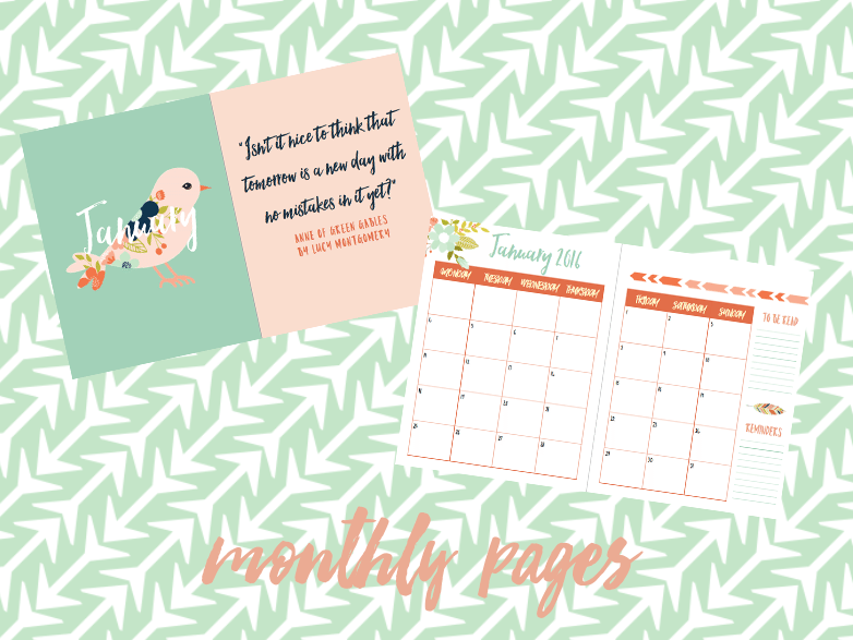 2016 book blog planner monthly pages