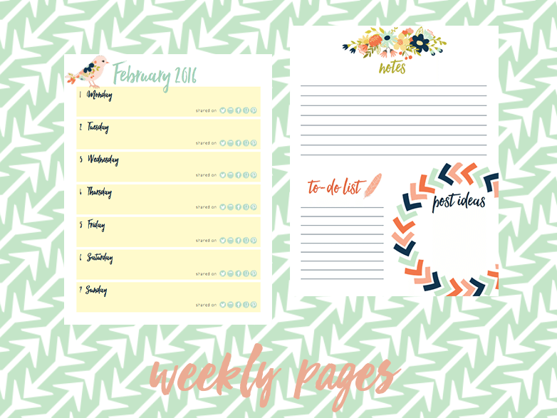 2016 book blog planner weekly pages