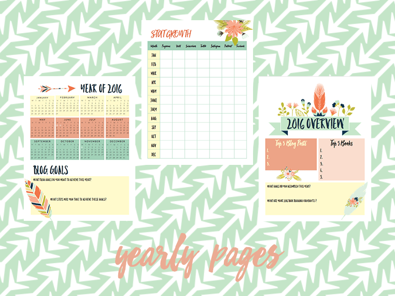 2016 book blog planner yearly pages