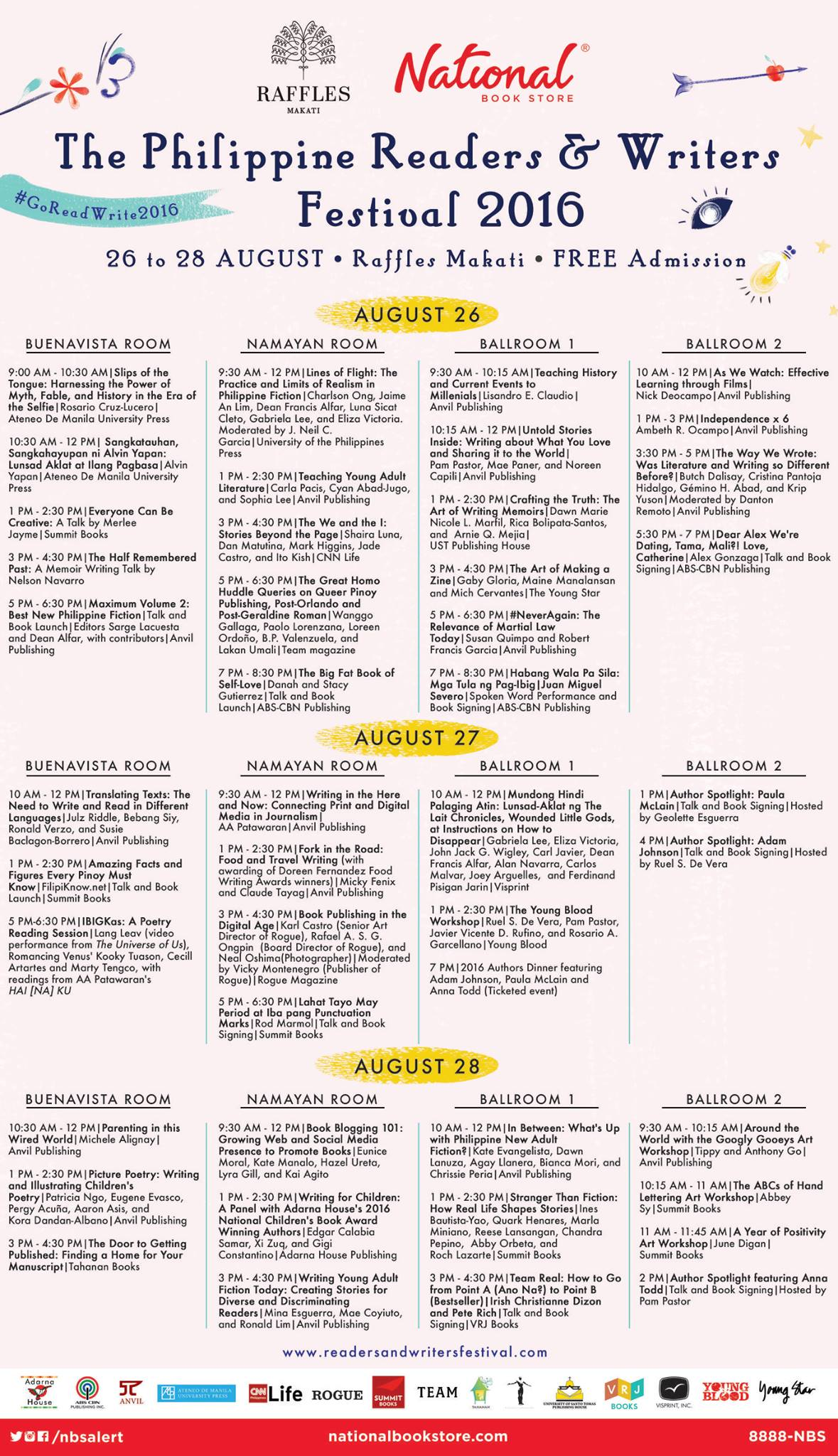 The Philippine Readers and Writers Festival - Event Schedule